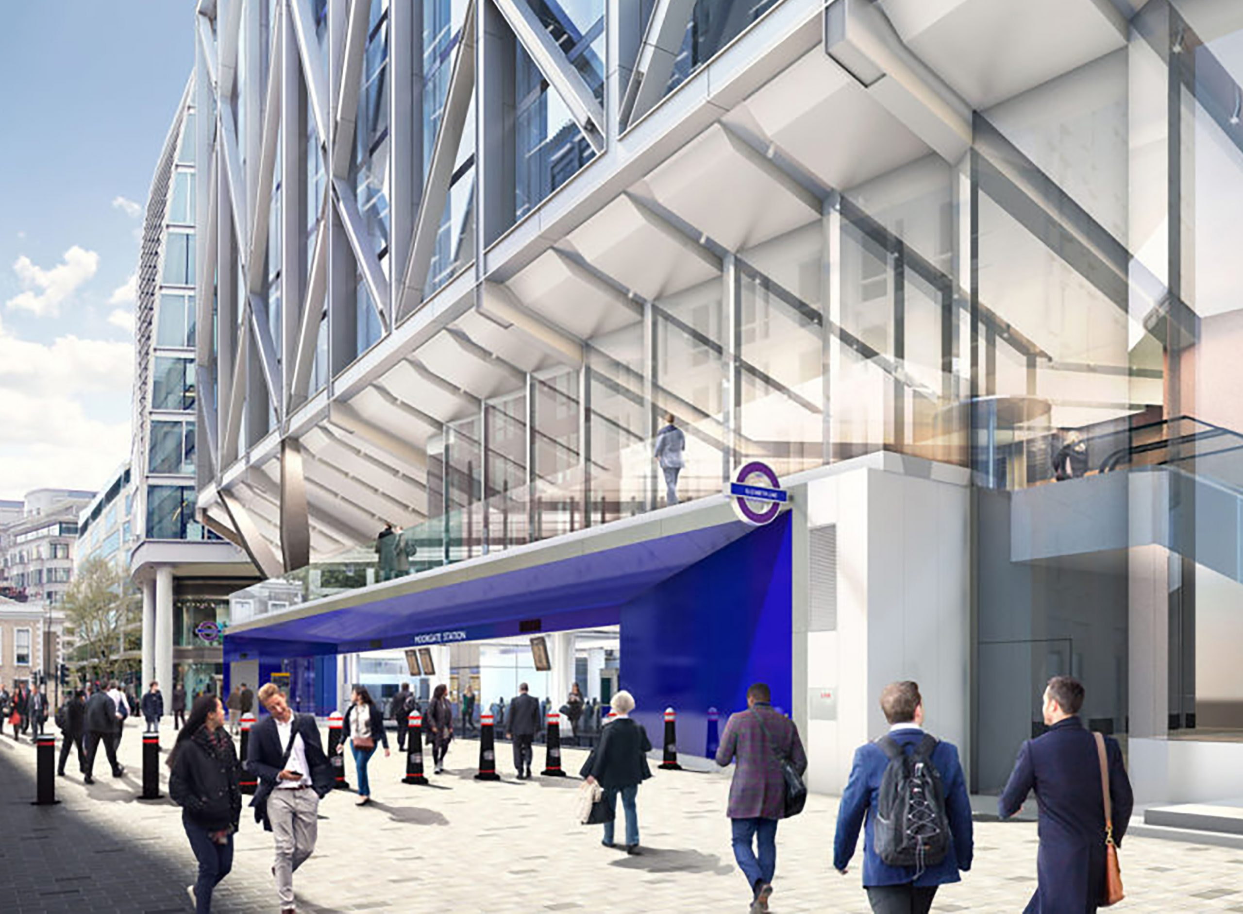 CGI of Moorgate Elizabeth Line Entrance